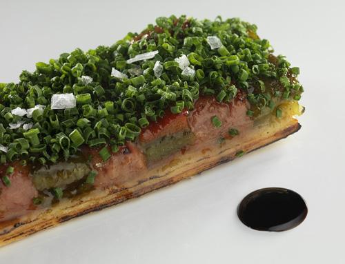Coca de foie con verduras SOT